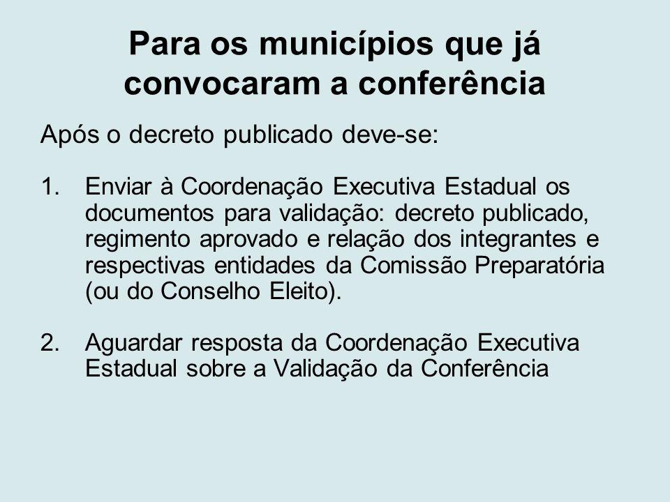 Para os municípios que já convocaram a conferência Após o decreto publicado deve-se: 1.Enviar à Coordenação Executiva Estadual os documentos para vali