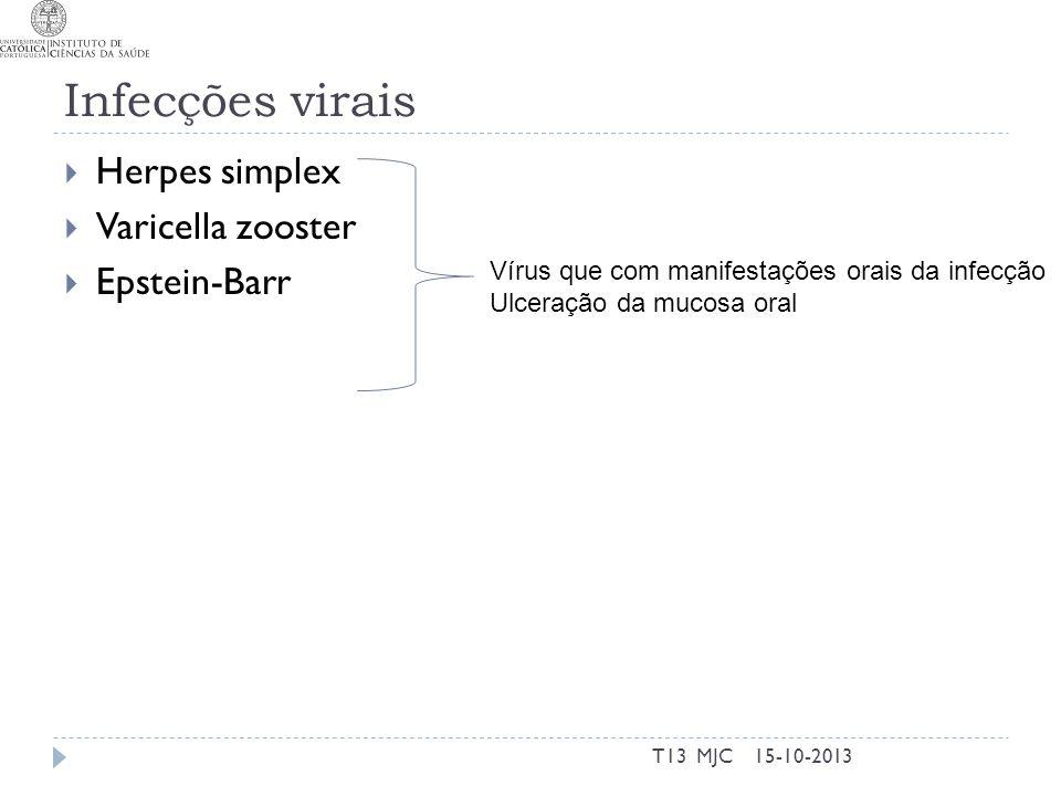 Infecções virais  Herpes simplex  Varicella zooster  Epstein-Barr 15-10-2013T13 MJC Vírus que com manifestações orais da infecção Ulceração da muco