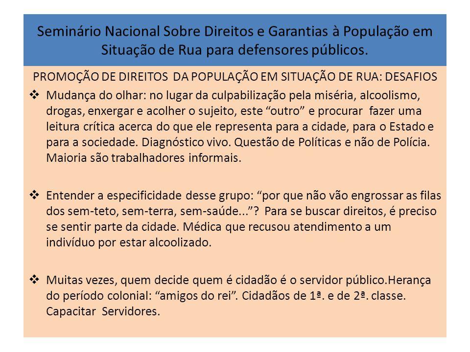 Seminário Nacional Sobre Direitos e Garantias à População em Situação de Rua para defensores públicos. PROMOÇÃO DE DIREITOS DA POPULAÇÃO EM SITUAÇÃO D