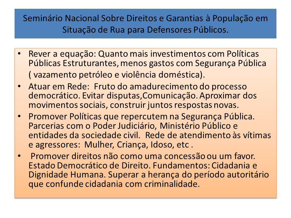 Seminário Nacional Sobre Direitos e Garantias à População em Situação de Rua para Defensores Públicos. • Rever a equação: Quanto mais investimentos co