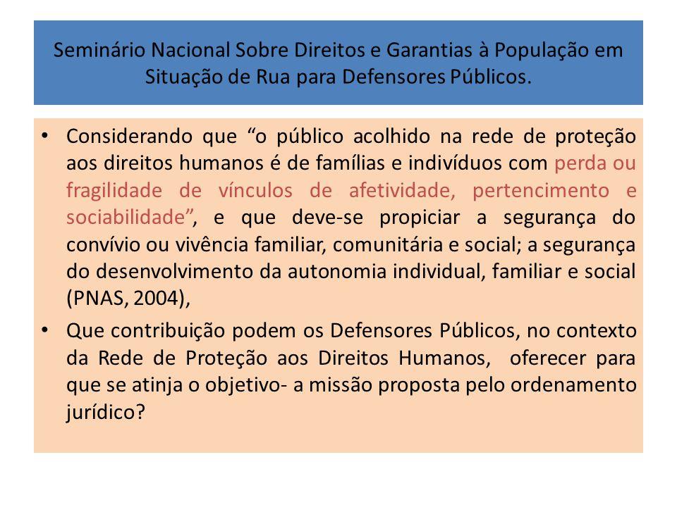 """Seminário Nacional Sobre Direitos e Garantias à População em Situação de Rua para Defensores Públicos. • Considerando que """"o público acolhido na rede"""
