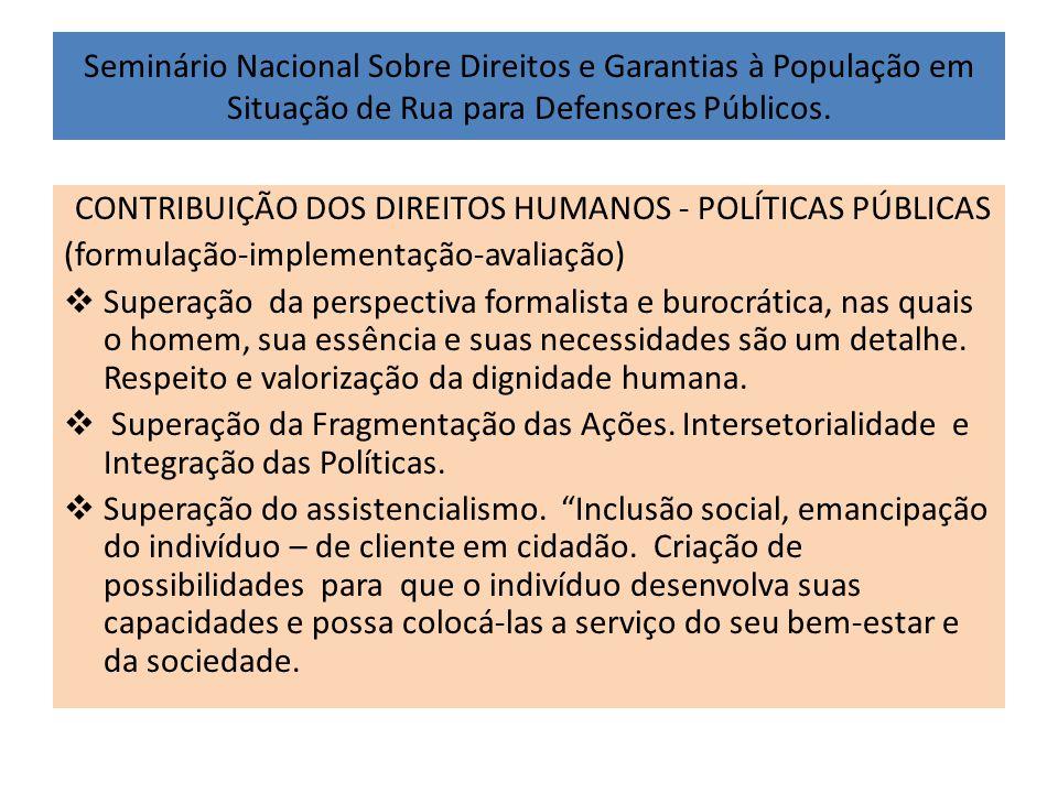 Seminário Nacional Sobre Direitos e Garantias à População em Situação de Rua para Defensores Públicos. CONTRIBUIÇÃO DOS DIREITOS HUMANOS - POLÍTICAS P
