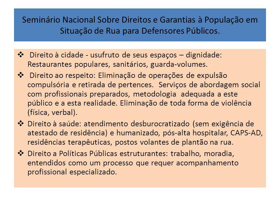 Seminário Nacional Sobre Direitos e Garantias à População em Situação de Rua para Defensores Públicos.  Direito à cidade - usufruto de seus espaços –