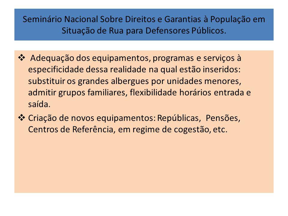 Seminário Nacional Sobre Direitos e Garantias à População em Situação de Rua para Defensores Públicos.  Adequação dos equipamentos, programas e servi