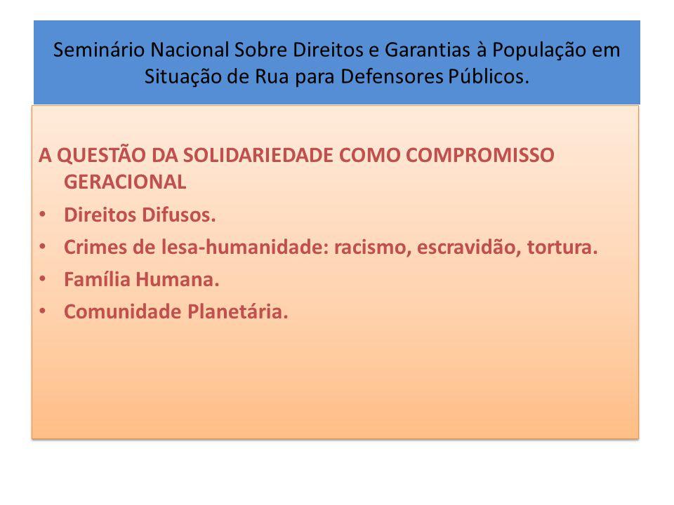 Seminário Nacional Sobre Direitos e Garantias à População em Situação de Rua para Defensores Públicos. A QUESTÃO DA SOLIDARIEDADE COMO COMPROMISSO GER