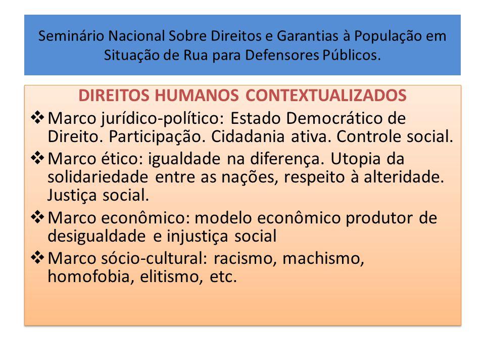 Seminário Nacional Sobre Direitos e Garantias à População em Situação de Rua para Defensores Públicos. DIREITOS HUMANOS CONTEXTUALIZADOS  Marco juríd