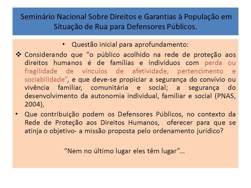 Seminário Nacional Sobre Direitos e Garantias à População em Situação de Rua para Defensores Públicos. • Questão inicial para aprofundamento:  Consid