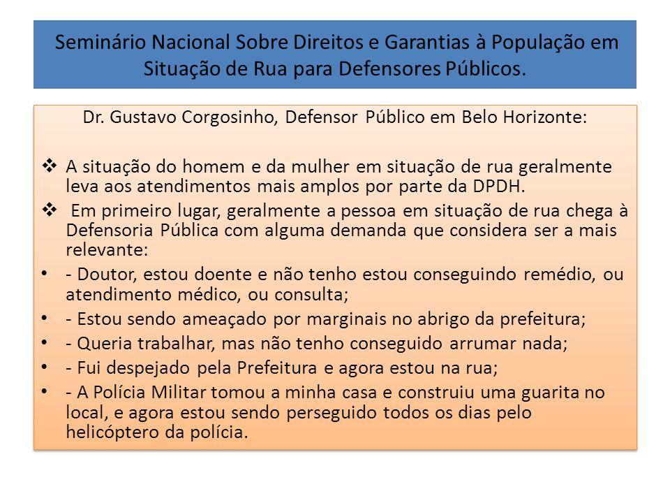 Seminário Nacional Sobre Direitos e Garantias à População em Situação de Rua para Defensores Públicos. Dr. Gustavo Corgosinho, Defensor Público em Bel