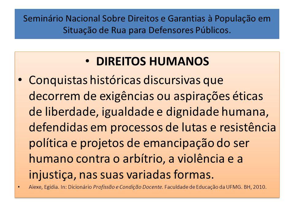 Seminário Nacional Sobre Direitos e Garantias à População em Situação de Rua para Defensores Públicos. • DIREITOS HUMANOS • Conquistas históricas disc