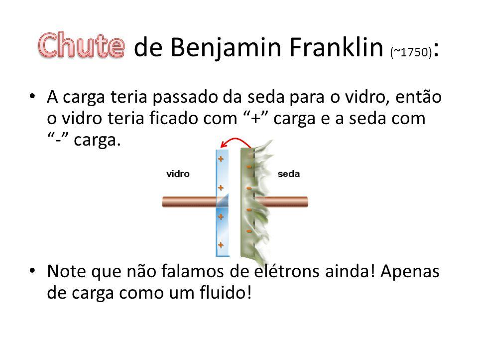 Aplicação da Teoria de B.Franklin: • Vidro com seda: vidro positivo.