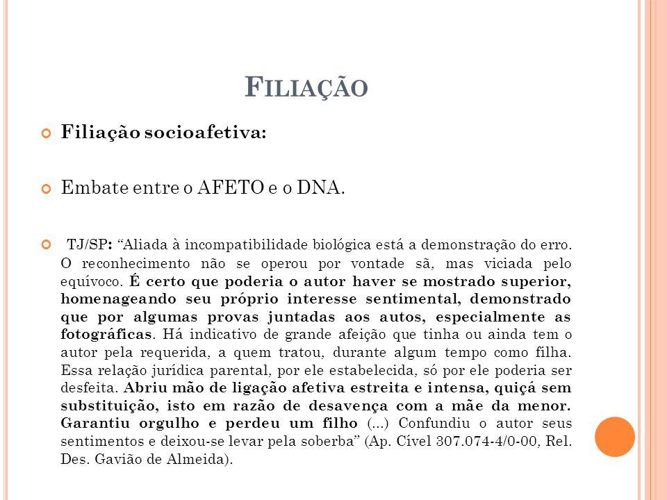F ILIAÇÃO Filiação socioafetiva: Embate entre o AFETO e o DNA.