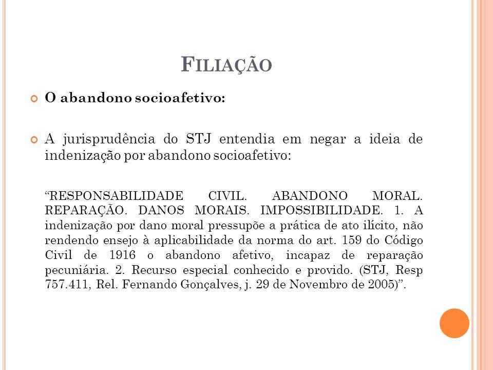 F ILIAÇÃO O abandono socioafetivo: A jurisprudência do STJ entendia em negar a ideia de indenização por abandono socioafetivo: RESPONSABILIDADE CIVIL.