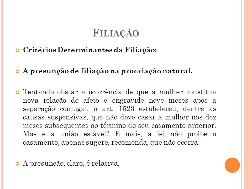 F ILIAÇÃO Critérios Determinantes da Filiação: A presunção de filiação na procriação natural.