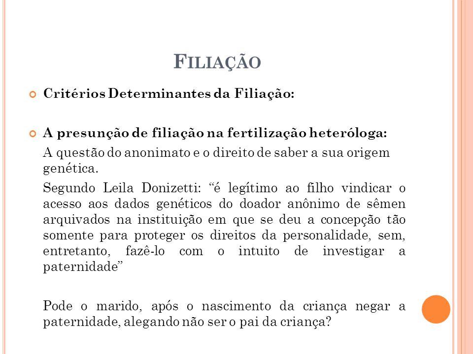 F ILIAÇÃO Critérios Determinantes da Filiação: A presunção de filiação na fertilização heteróloga: A questão do anonimato e o direito de saber a sua origem genética.