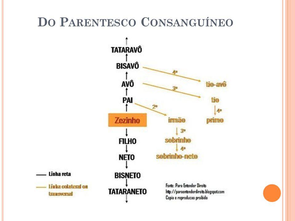 D O P ARENTESCO P OR A FINIDADE O parentesco por afinidade Em linha reta, a afinidade vincula cada cônjuge ou companheiro aos parentes em linha reta do outro consorte ou companheiro.