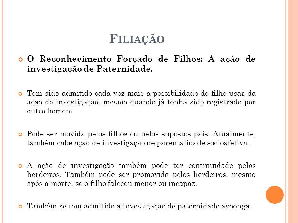 F ILIAÇÃO O Reconhecimento Forçado de Filhos: A ação de investigação de Paternidade.