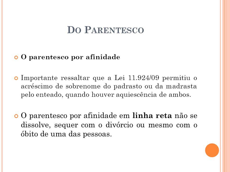 D O P ARENTESCO O parentesco por afinidade Importante ressaltar que a Lei 11.924/09 permitiu o acréscimo de sobrenome do padrasto ou da madrasta pelo enteado, quando houver aquiescência de ambos.