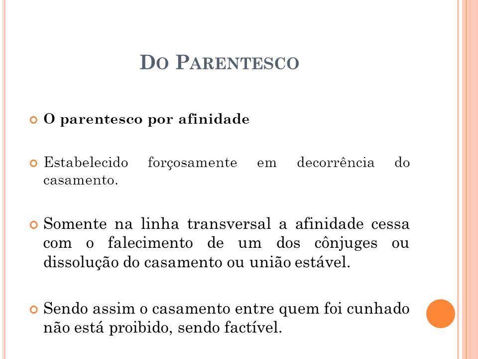 D O P ARENTESCO O parentesco por afinidade Estabelecido forçosamente em decorrência do casamento.