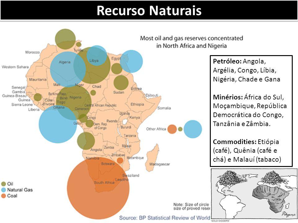 Petróleo: Angola, Argélia, Congo, Líbia, Nigéria, Chade e Gana Minérios: África do Sul, Moçambique, República Democrática do Congo, Tanzânia e Zâmbia.