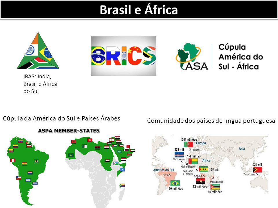 Brasil e África IBAS: Índia, Brasil e África do Sul Cúpula da América do Sul e Países Árabes Comunidade dos países de língua portuguesa