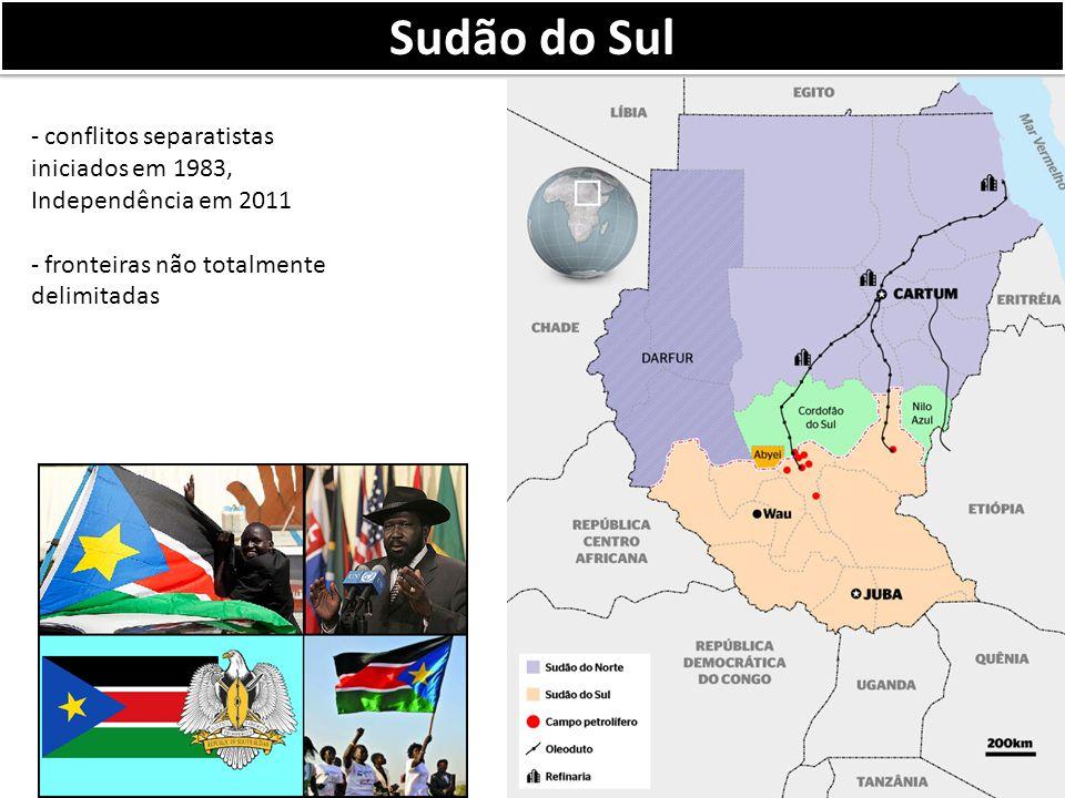Sudão do Sul - conflitos separatistas iniciados em 1983, Independência em 2011 - fronteiras não totalmente delimitadas