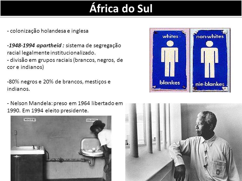 África do Sul - colonização holandesa e inglesa -1948-1994 apartheid : sistema de segregação racial legalmente institucionalizado.