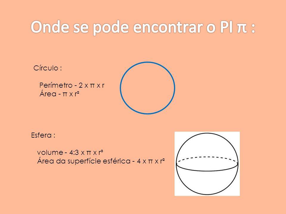 Círculo : Perímetro - 2 x π x r Área - π x r² Esfera : volume - 4:3 x π x r³ Área da superfície esférica - 4 x π x r²