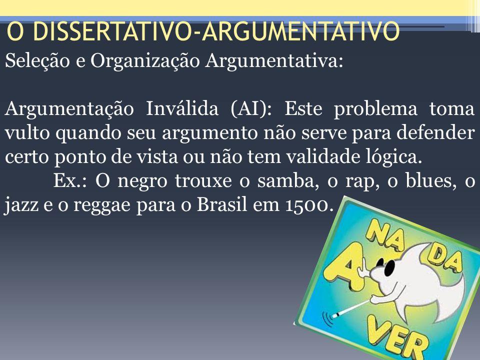 O DISSERTATIVO-ARGUMENTATIVO Seleção e Organização Argumentativa: Argumentação Inválida (AI): Este problema toma vulto quando seu argumento não serve