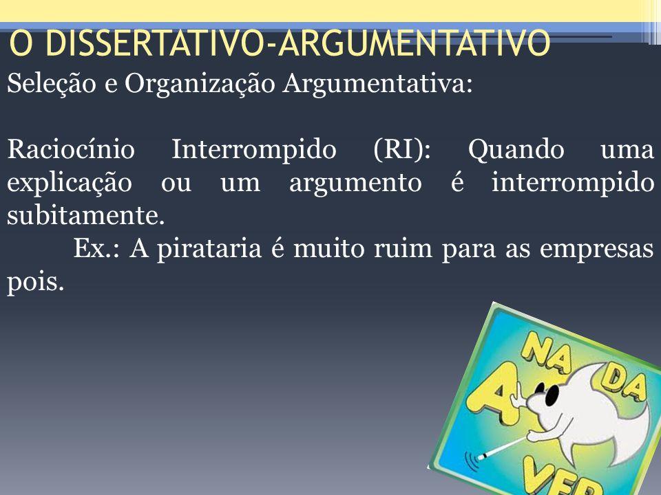 O DISSERTATIVO-ARGUMENTATIVO Seleção e Organização Argumentativa: Raciocínio Interrompido (RI): Quando uma explicação ou um argumento é interrompido s