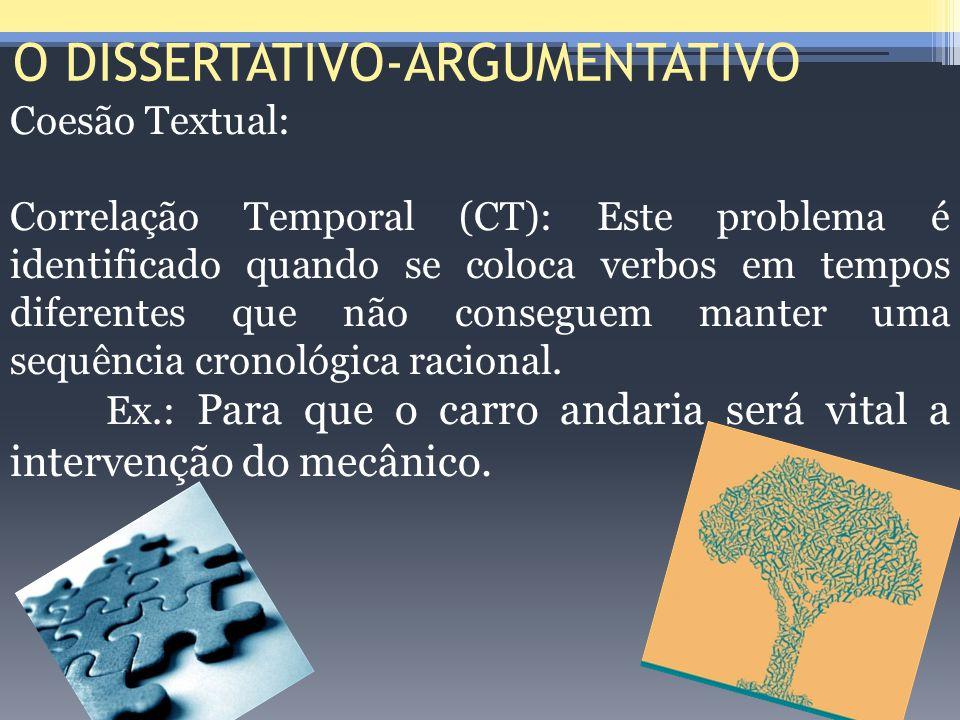 O DISSERTATIVO-ARGUMENTATIVO Coesão Textual: Correlação Temporal (CT): Este problema é identificado quando se coloca verbos em tempos diferentes que n