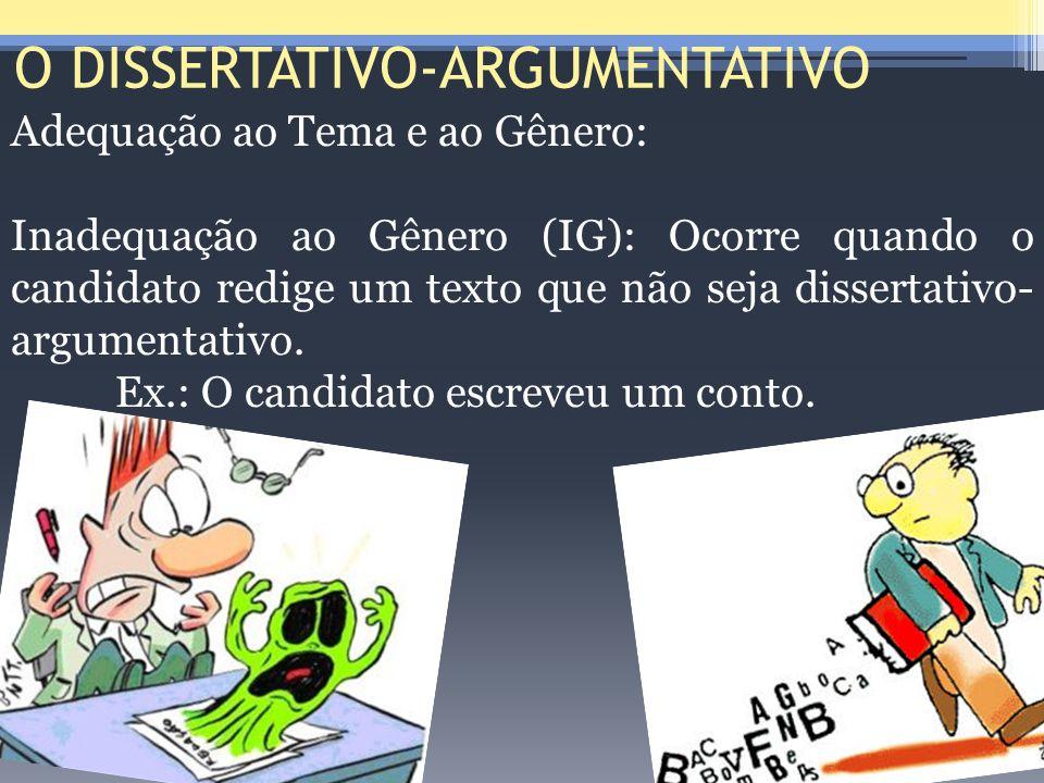 O DISSERTATIVO-ARGUMENTATIVO Adequação ao Tema e ao Gênero: Inadequação ao Gênero (IG): Ocorre quando o candidato redige um texto que não seja dissert