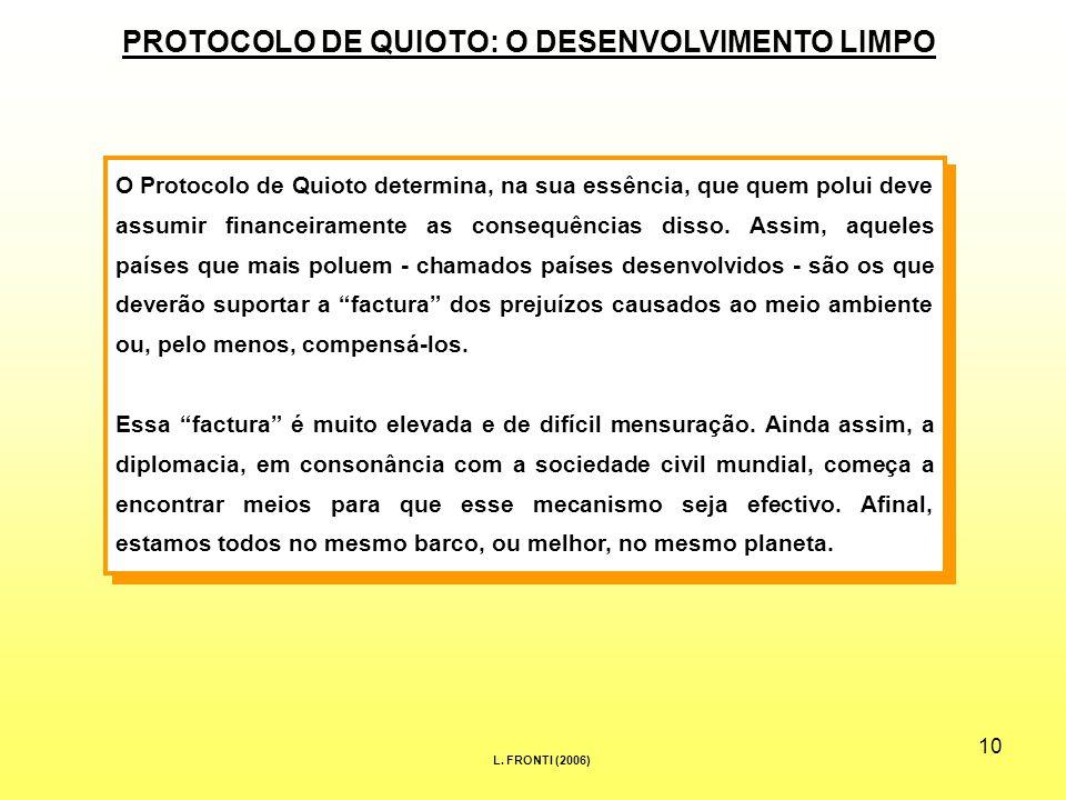 10 PROTOCOLO DE QUIOTO: O DESENVOLVIMENTO LIMPO O Protocolo de Quioto determina, na sua essência, que quem polui deve assumir financeiramente as consequências disso.
