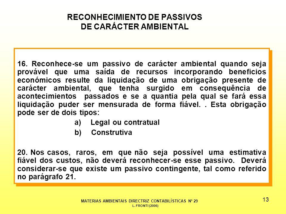 13 RECONHECIMIENTO DE PASSIVOS DE CARÁCTER AMBIENTAL 16.