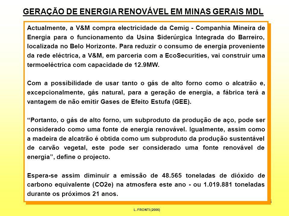 16 GERAÇÃO DE ENERGIA RENOVÁVEL EM MINAS GERAIS MDL Actualmente, a V&M compra electricidade da Cemig - Companhia Mineira de Energia para o funcionamento da Usina Siderúrgica Integrada do Barreiro, localizada no Belo Horizonte.