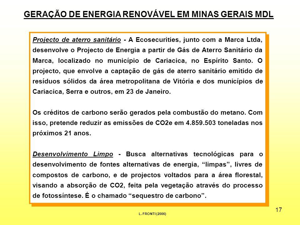 17 Projecto de aterro sanitário - A Ecosecurities, junto com a Marca Ltda, desenvolve o Projecto de Energia a partir de Gás de Aterro Sanitário da Marca, localizado no município de Cariacica, no Espírito Santo.