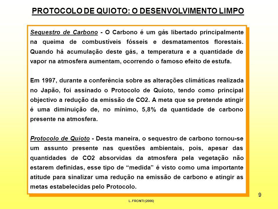 9 PROTOCOLO DE QUIOTO: O DESENVOLVIMENTO LIMPO Sequestro de Carbono - O Carbono é um gás libertado principalmente na queima de combustíveis fósseis e desmatamentos florestais.