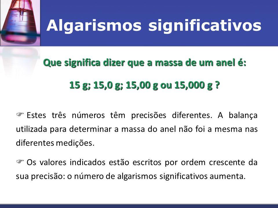 Algarismos significativos Que significa dizer que a massa de um anel é: 15 g; 15,0 g; 15,00 g ou 15,000 g ?  E Estes três números têm precisões dife