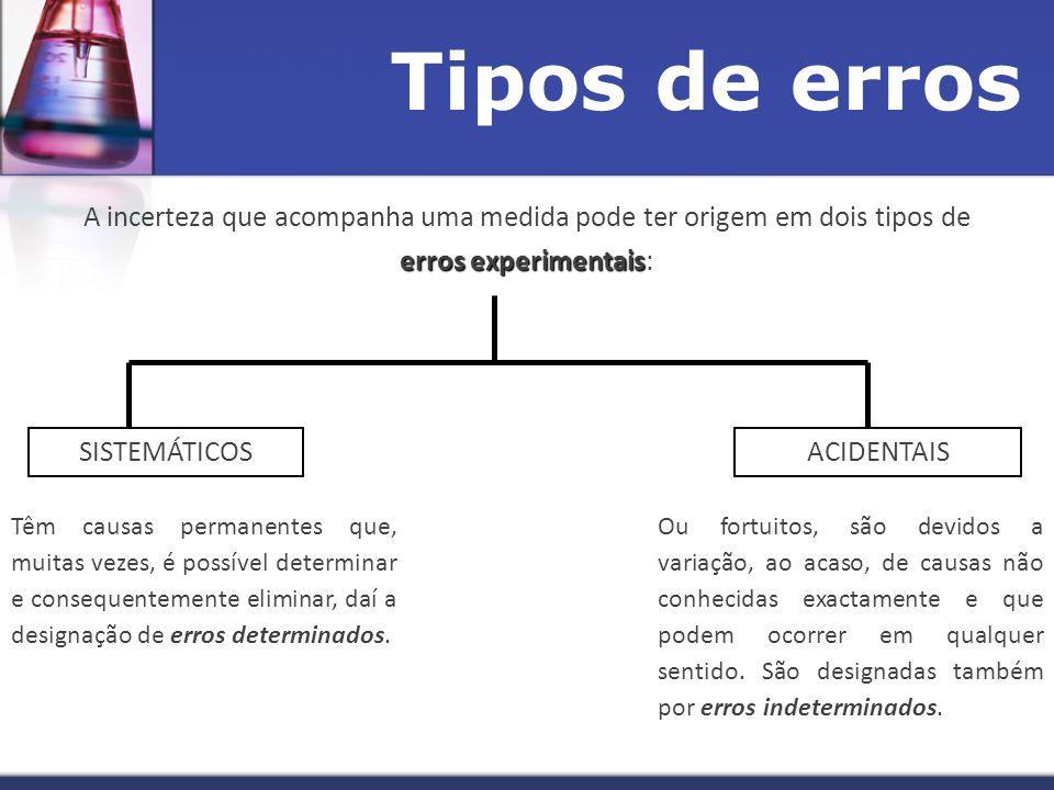 Tipos de erros erros experimentais A incerteza que acompanha uma medida pode ter origem em dois tipos de erros experimentais: SISTEMÁTICOSACIDENTAIS Têm causas permanentes que, muitas vezes, é possível determinar e consequentemente eliminar, daí a designação de erros determinados.