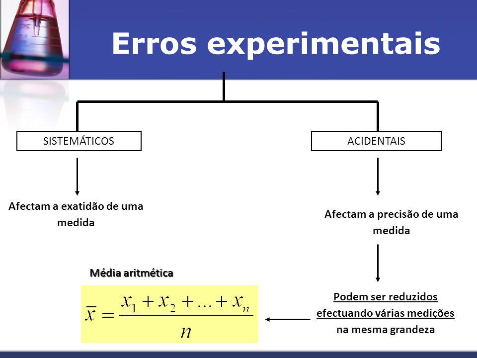 Erros experimentais SISTEMÁTICOSACIDENTAIS Afectam a exatidão de uma medida Afectam a precisão de uma medida Podem ser reduzidos efectuando várias medições na mesma grandeza Média aritmética