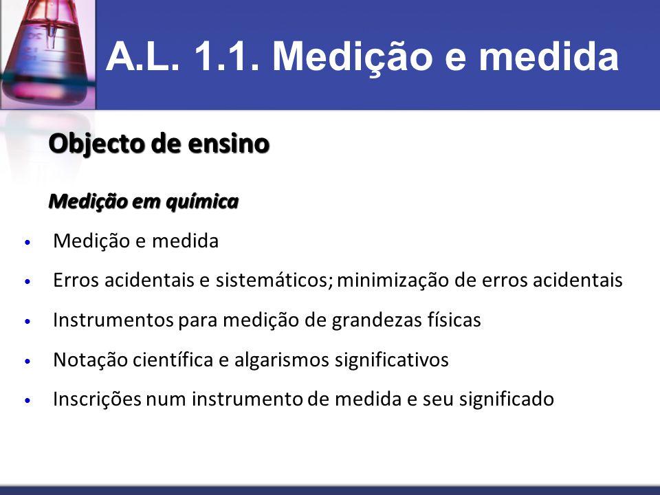 Objecto de ensino Medição em química • Medição e medida • Erros acidentais e sistemáticos; minimização de erros acidentais • Instrumentos para medição