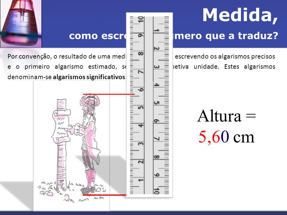 Medida, como escrever o número que a traduz? Por convenção, o resultado de uma medida apresenta-se escrevendo os algarismos precisos e o primeiro alga