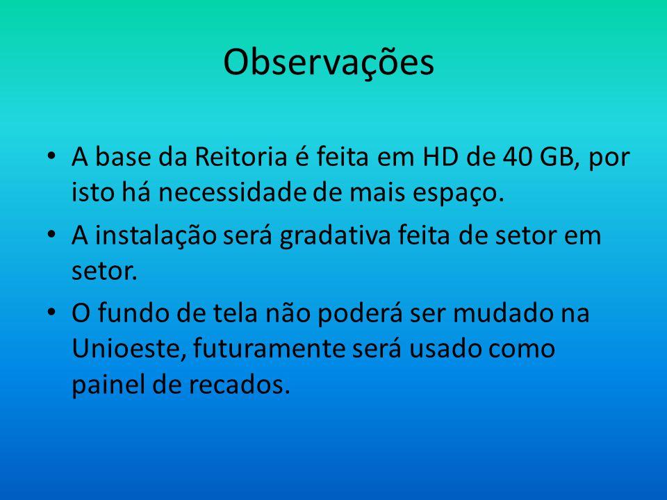 Observações • A base da Reitoria é feita em HD de 40 GB, por isto há necessidade de mais espaço.