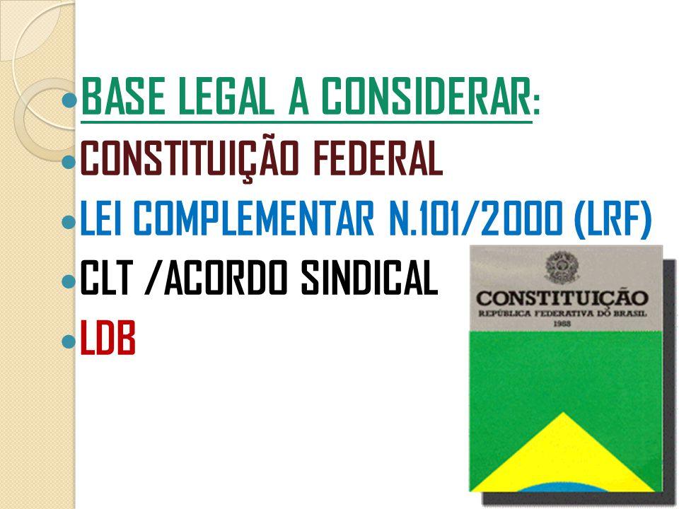  BASE LEGAL A CONSIDERAR :  CONSTITUIÇÃO FEDERAL  LEI COMPLEMENTAR N.101/2000 (LRF)  CLT /ACORDO SINDICAL  LDB