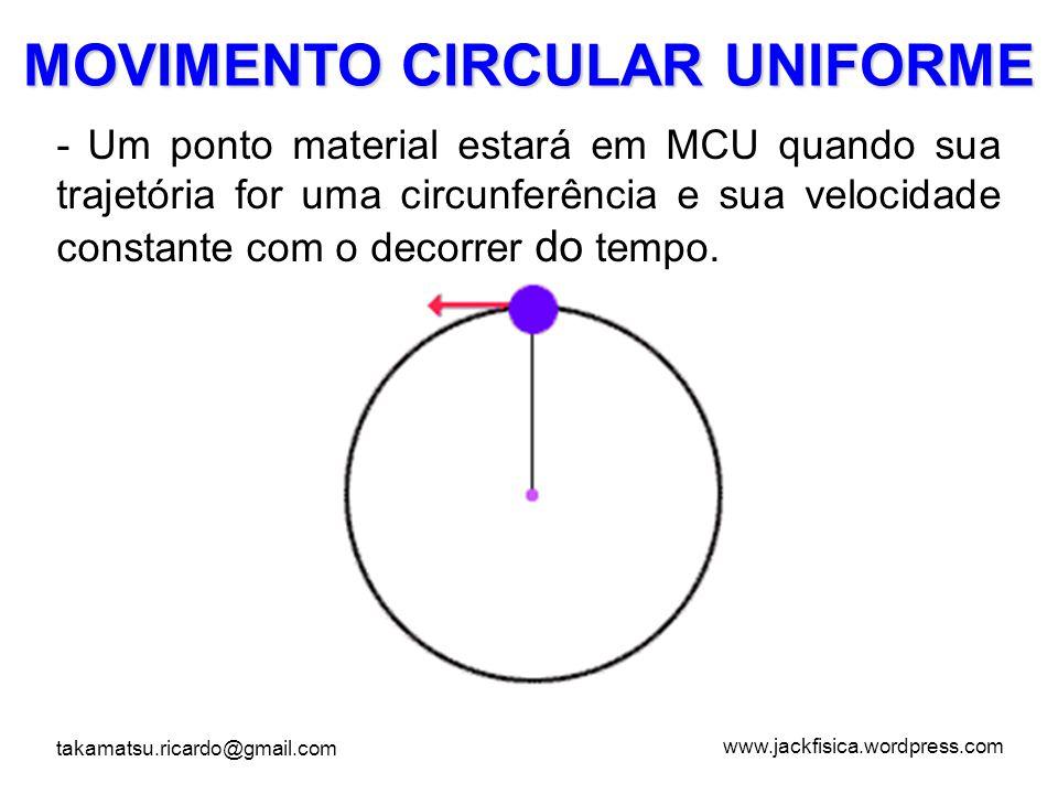 www.jackfisica.wordpress.com takamatsu.ricardo@gmail.com Velocidade Linear no MCU No Movimento circular iremos definir todas as grandezas físicas considerando sempre uma volta completa.