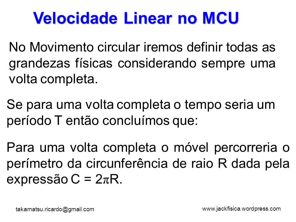 www.jackfisica.wordpress.com takamatsu.ricardo@gmail.com Velocidade Linear no MCU No Movimento circular iremos definir todas as grandezas físicas cons
