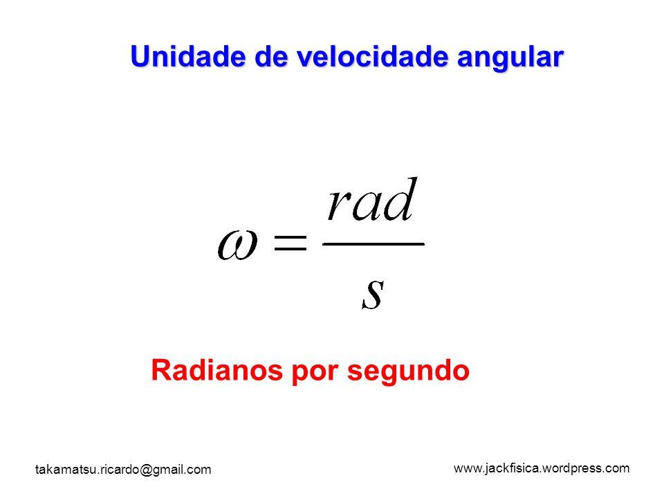www.jackfisica.wordpress.com takamatsu.ricardo@gmail.com Unidade de velocidade angular Radianos por segundo