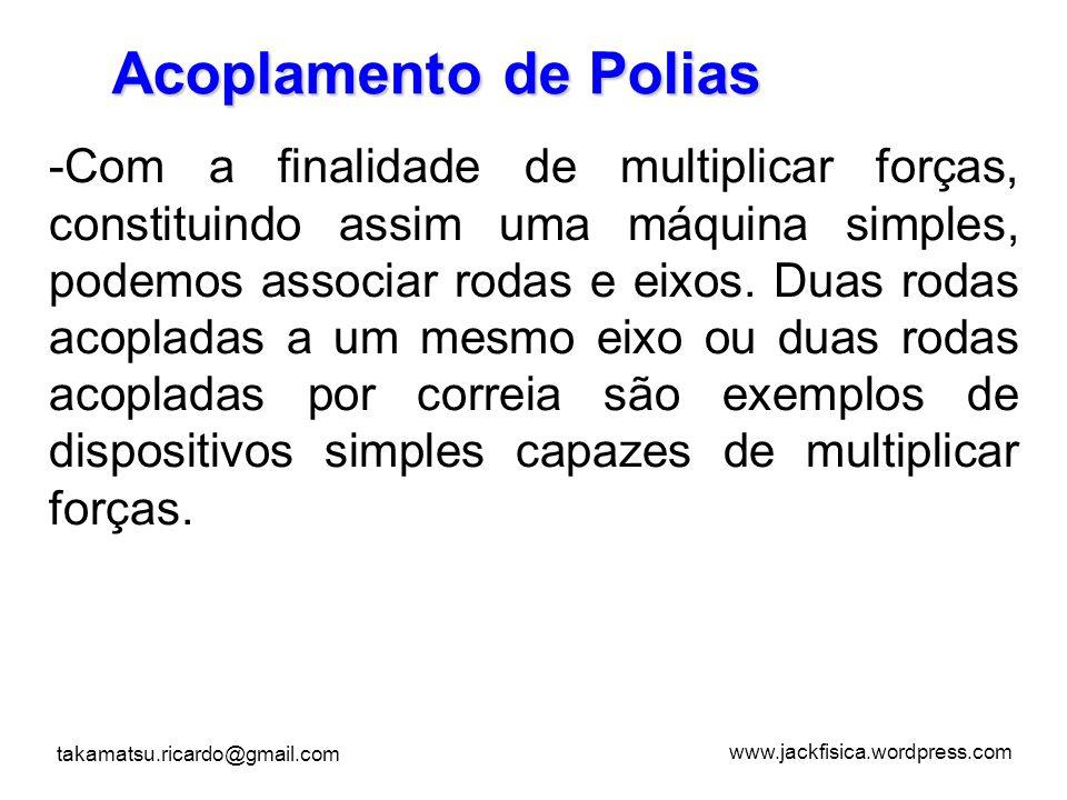 www.jackfisica.wordpress.com takamatsu.ricardo@gmail.com Acoplamento de Polias -C-Com a finalidade de multiplicar forças, constituindo assim uma máqui