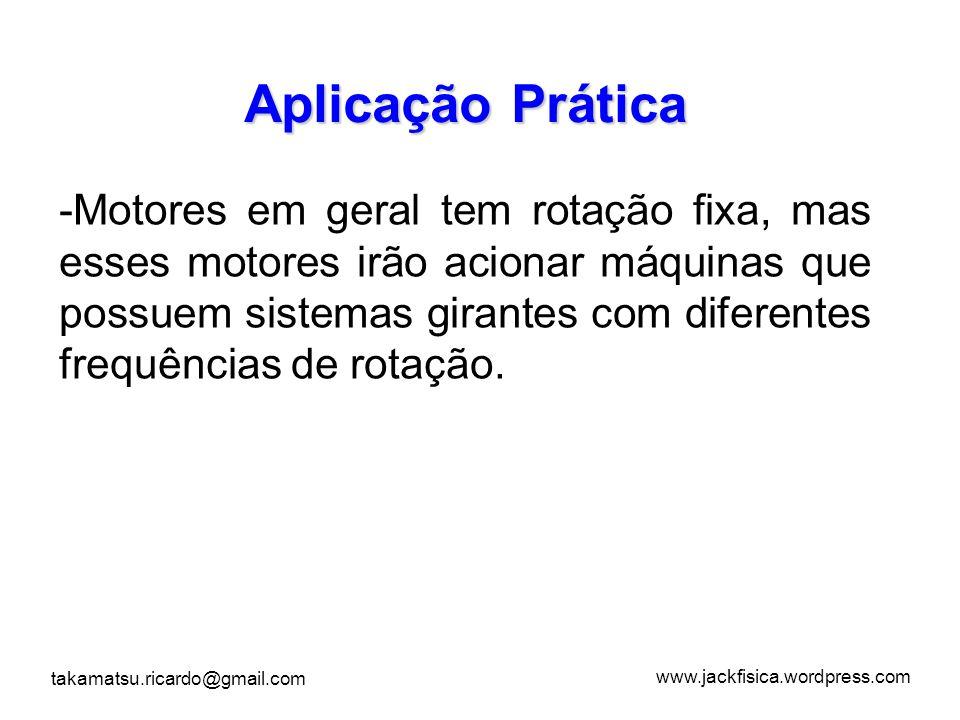 www.jackfisica.wordpress.com takamatsu.ricardo@gmail.com -M-Motores em geral tem rotação fixa, mas esses motores irão acionar máquinas que possuem sis