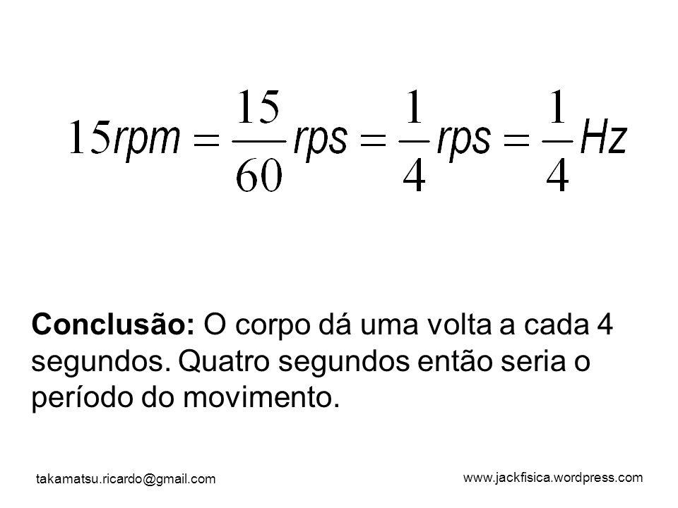 www.jackfisica.wordpress.com takamatsu.ricardo@gmail.com Conclusão: O corpo dá uma volta a cada 4 segundos. Quatro segundos então seria o período do m