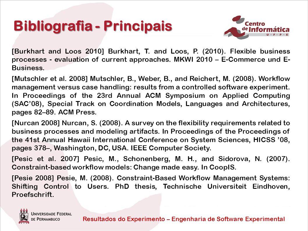 Resultados do Experimento – Engenharia de Software Experimental Bibliografia - Principais [Burkhart and Loos 2010] Burkhart, T.